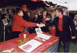 Photo: Presient McCormick meets Connie Vassanella at the Silver Knights tent.